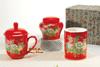 贵阳礼品,花开富贵三件套(红瓷)988元工艺精品 - 红瓷/黄瓷