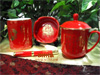 贵阳礼品,中国红瓷-毛主席诗词四件套665元办公礼品 - 文具摆件/套件