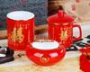 贵阳礼品,红瓷茶杯笔筒烟缸三件套495元工艺精品 - 红瓷/黄瓷