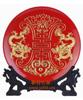 贵阳礼品,双龙寿红盘(漆线雕)1980元节日礼品