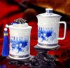贵阳礼品,水晶玲珑骨瓷办公杯茶叶罐二件套0元工艺精品 - 精品茶具/杯