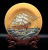 贵阳礼品,晶化玻璃雕刻彩绘一帆风顺