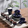 贵阳礼品,999鎏银陶瓷茶具9件套(深紫蓝)