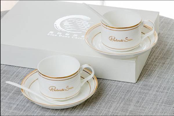 贵阳礼品,一级骨质瓷咖啡杯二人组