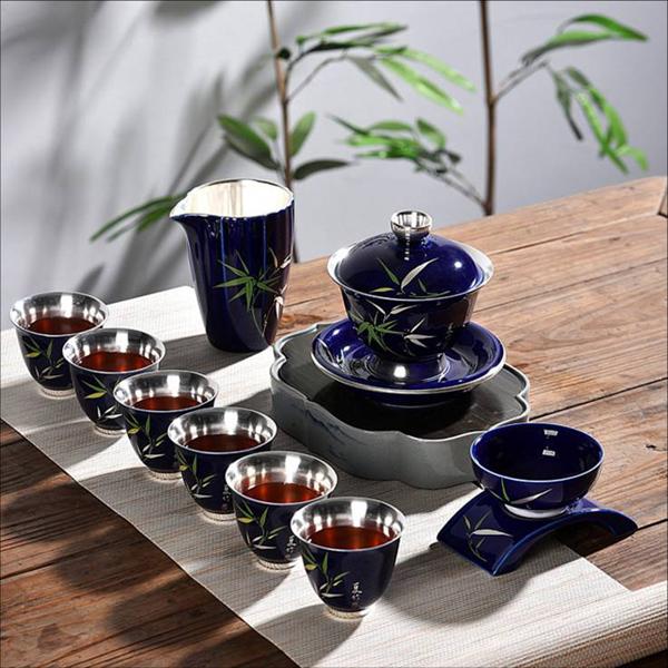 贵阳球王会体育平台,999鎏银陶瓷茶具9件套(深紫蓝)