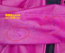 鲜艳梅红色皮衣补洞翻新对比图