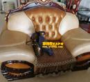 世纪城棕黄色沙发清洗保养对比图