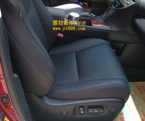 雷克萨斯350蓝黑色座椅翻新对比图真皮座椅翻新后
